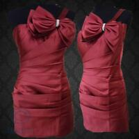 Red One Shoulder Diamante Bow Party Dress Pleated Mini Prom Ball Formal Gown