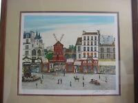 "Dan Gandre ""Moulin Rouge"" Signed & Ltd Edition Lithograph Print W/ Wooden Frame"