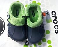 CROCS BLITZEN POLAR KIDS MAMMOTH FLEECE CLOG SHOES~Blue Green~Junior 1 W 3~NEW