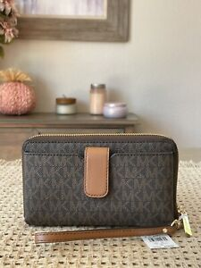 Michael Kors Jet Set Travel Medium Zip Around Phone Holder Wallet Wristlet Brown