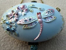 OVAL SHAPED BLUE TRINKET BOX WITH BEADS, CRYSTALS & CHAIN BEAUTIFUL GIFT BNIB