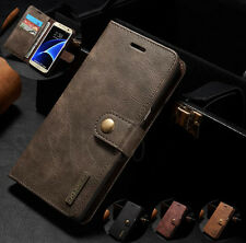 Samsung S7 Edge Genuine Leather Removable Wallet Magnetic Flip Card Case Cover