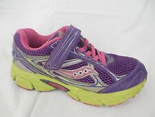 Saucony Cohesion 7 Girls 2 Wide Youth Purple Green Running Sneaker Shoes Leather