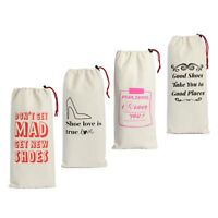 Earthwise Shoe Storage Travel Bags 100% Cotton with Drawstring For Women(4 Pack)