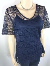 MILLERS Woman Navy Blue Embroidered Top with Cami Size 14 AS NEW Dressy