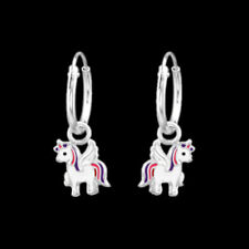 925 Sterling Silver Unicorn Sleeper Endless Hoop Earrings 12mm Pink Purple Girl