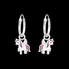 925 Sterling Silver Unicorn Sleeper Endless Hoop Earrings 12mm Pink Purple Girl