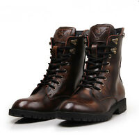 Men's Autumn High Top Rivets Skull Punk Retro Motorcycle Military Ankle Boots Sz