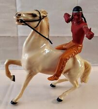 Brave Eagle & White Cloud Rearing Horse & Rider Western Vintage by Hartland 50's