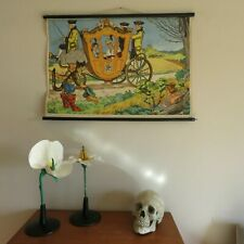 Vintage PUSS IN BOOTS school chart wall chart Italian fairytale folktale poster