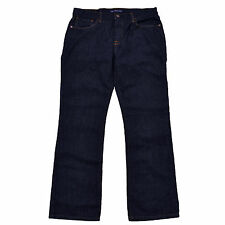 Tommy Hilfiger Mens Jeans Bootcut Denim Pants Blue Indigo Brown Patch Boot New