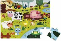 Janod Tactile Jigsaw Puzzle 20 pieces, Farm Animals with Textures ( 65 x 50 cm )