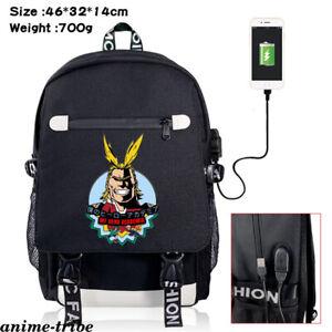 My Hero Academia All·Might Rucksack USB Backpack Unisex Schoolbag Zip Laptopbag