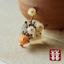 HANDMADE Women Brooch Scarf Pin Asian Seashell Sakura Green Jade pink pearl GIFT