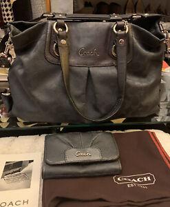 Coach Ashley Signature Convertible Satchel Gray Shoulder Bag/ Coach wallet