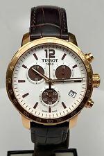 TISSOT Quickster Quartz Swiss Chronograph ref T095417A Gold Tone Leather WOW NR!