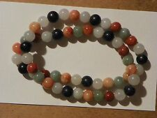 Jade Jadeite Loose Beads Multicolor 6 six Color 16 inches 8 MM. Rounds Vintage
