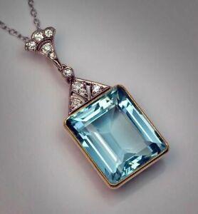 14k Yellow Gold on 925 Sterling Silver CZ Aqua Emerald Art Deco Chain Necklace