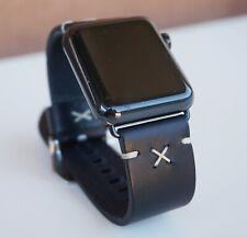 Apple watch 42mm Handmade matt black leather strap armband bracelet cinturino