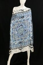 cherrie424: Art Decorative Print Blue Scarf in White Background