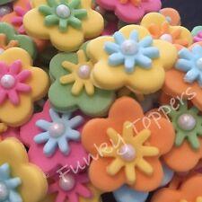 20 Comestibles Fondant Cake Topper Brillante Primavera Flores Brillo De Perlas