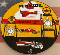 VINTAGE PENNZOIL PORCELAIN SERVICE SIGN, GAS STATION, PUMP PLATE, MOTOR OIL