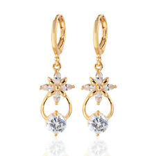 Women 18K Gold Plated AAA+ Clear Cubic Zirconia CZ Dangle Drop Earrings Jewelry