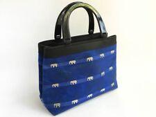 Vintage Japanese Indigo BlueElephant Print Handbag for Kimono or Daily Use