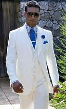 Custom White Men Wedding Suits Casual Notched Lapel Groom Tuxedo Suits Handmake