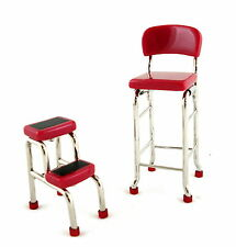 Dolls House Miniature Kitchen Furniture Modern Red Chrome Tall Chair Step Stool