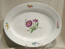 "Meissen 17 3/4"" Floral Serving Platter Crossed Swords Mark"