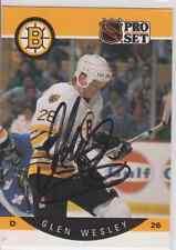 Autographed 90/91 Pro Set Glen Wesley - Bruins