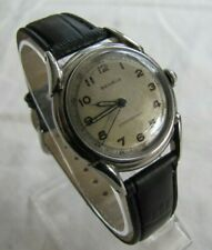 BENRUS SHOCK ABSORBER VINTAGE ALL SS  17J MANUAL WIND BH11 CAL1080 MILITARY DIAL