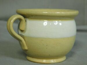 Antique Banded Yellow Ware Miniature Pee Chamber Pot Potty Early 1900s Vintage