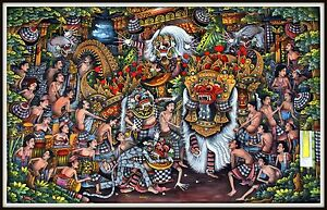"""""""Original"""" Traditional Balinese Painting """"Parade of the Barong"""" 33.25"""" h x 52"""" w"""