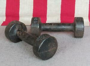 Vintage York Barbell Gym Dumbells Cast Iron Weights Antique 3 Lbs.Great Display!