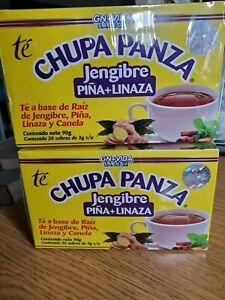 2 PACK Chupa Panza Detox Ginger Tea 60 Day Supply AND Gel FREE SHIP