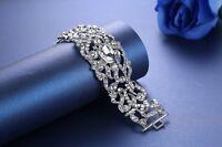 Edeles XXL Luxus Strass Armband Breit Brautschmuck Bracelet Hochzeit Silber