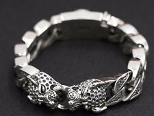 15mm solid 925 Sterling Silver men's leopard link biker bangle bracelet S1400