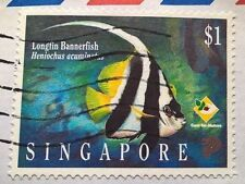 Singapore stamps - Longfin Bannerfish (Heniochus Acuminatus)  1$ 1995
