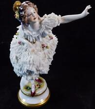 ANTIQUE GERMAN VOLKSTEDT PORCELAIN LACE FIGURINE DRESDEN DANCER BALLERINA FIGURI