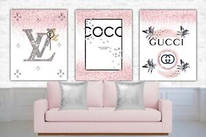 Set of 3 Fashion Art prints designer logo glitter diamond effect  blush pink A4