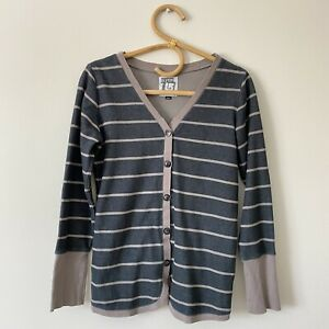 Small Womans BURTON Gray Striped Cardigan Top