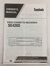 Symphonic Video Cassette Recorder SE426D Owner's Manual
