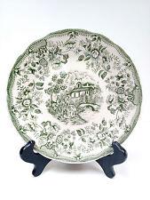 VTG rare Ironstone Tableware Underglaze 11-93 Dessert Plate ITALY Green White-1