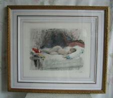 Art Deco Farb-Radierung Antoine Calbet um 1930 Frauenakt Aktbild Erotik etching