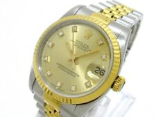 Auth ROLEX Datejust 68273G ChampagneGold Silver 18K Yellow Gold E608994
