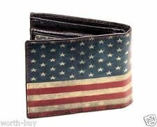 New Mens Bifold Genuine Leather Wallet Billfold American Old USA US Flag Print