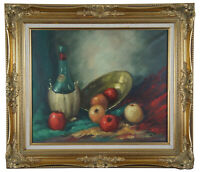 """Original Wine & Fruit Still Life Oil Painting on Canvas by Luborty Vintage 32"""""""