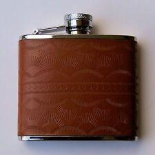 Flachmann, Kleine Taschenflasche im Westernlook, Leder braun, Edelstahl 115 ml